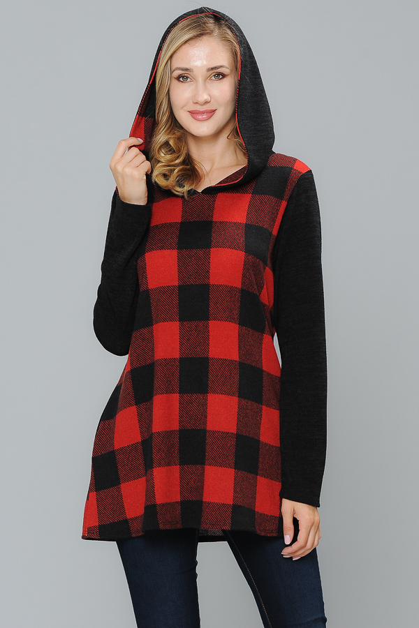 Huddy Tunic Solid Long Sleeves Red/Black Plaid
