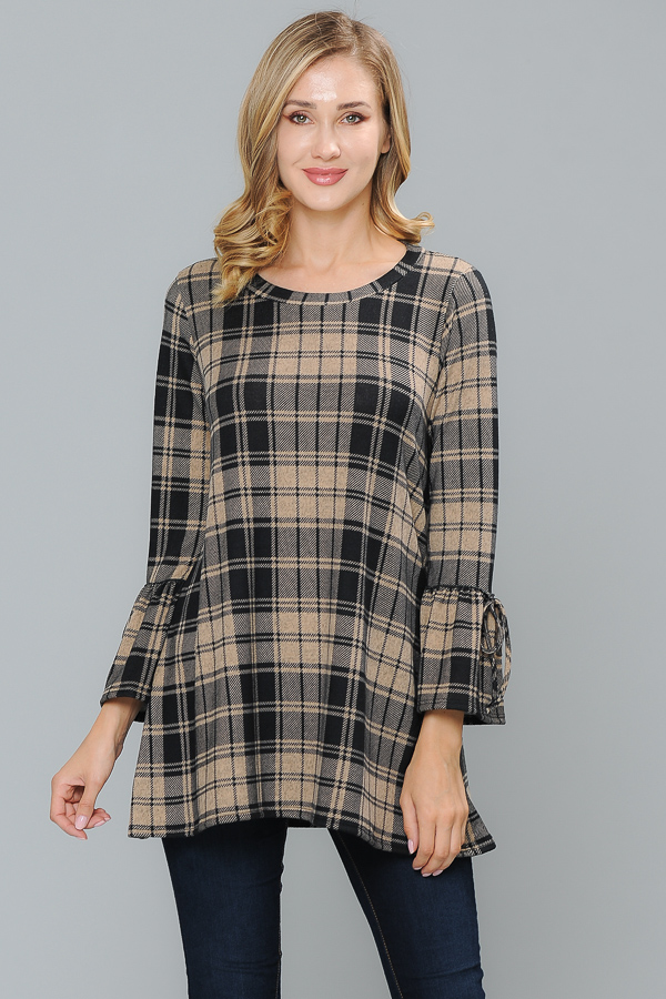 PLAID TUNIC BLACK/W SAND