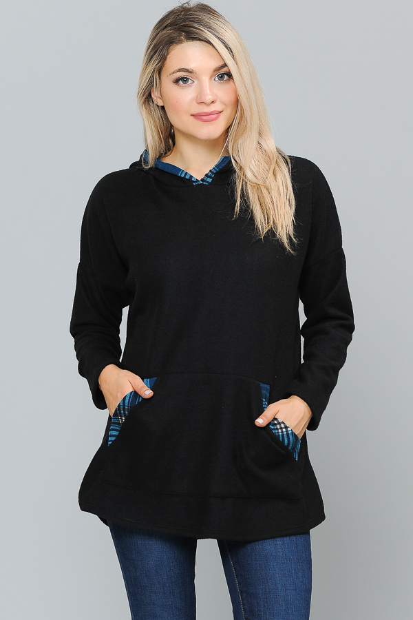 PLAID PRINT HUDDY POCKET SOLID BLACK TUNIC