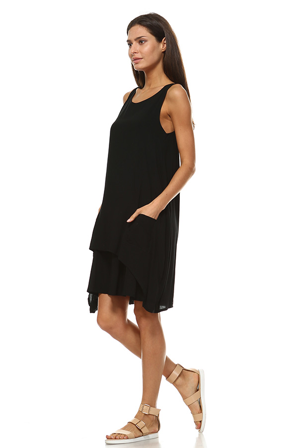 Front Pocket Small Dress - Black