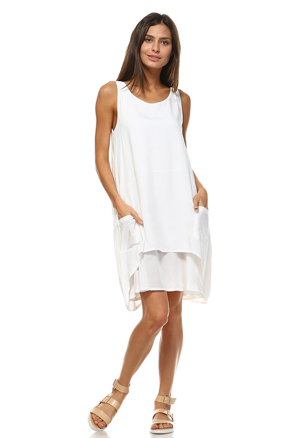 Front Pocket Small Dress - Ivory