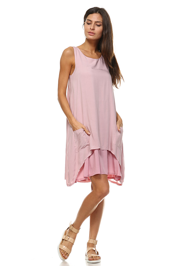Front Pocket Small Dress - Mauve