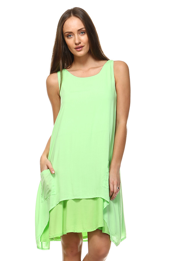 Front Pocket Small Dress - Lime