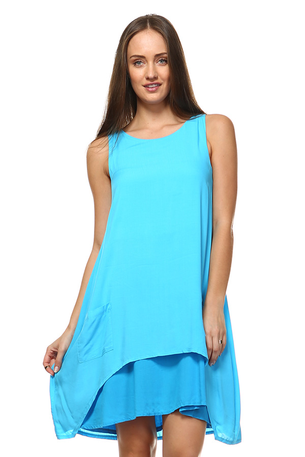 Front Pocket Small Dress - Turquoise