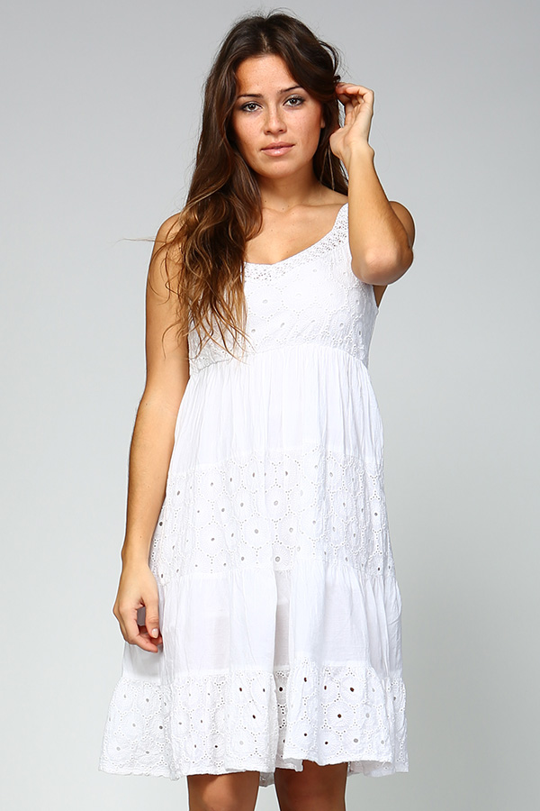 Tank Dress with Embroidery-White