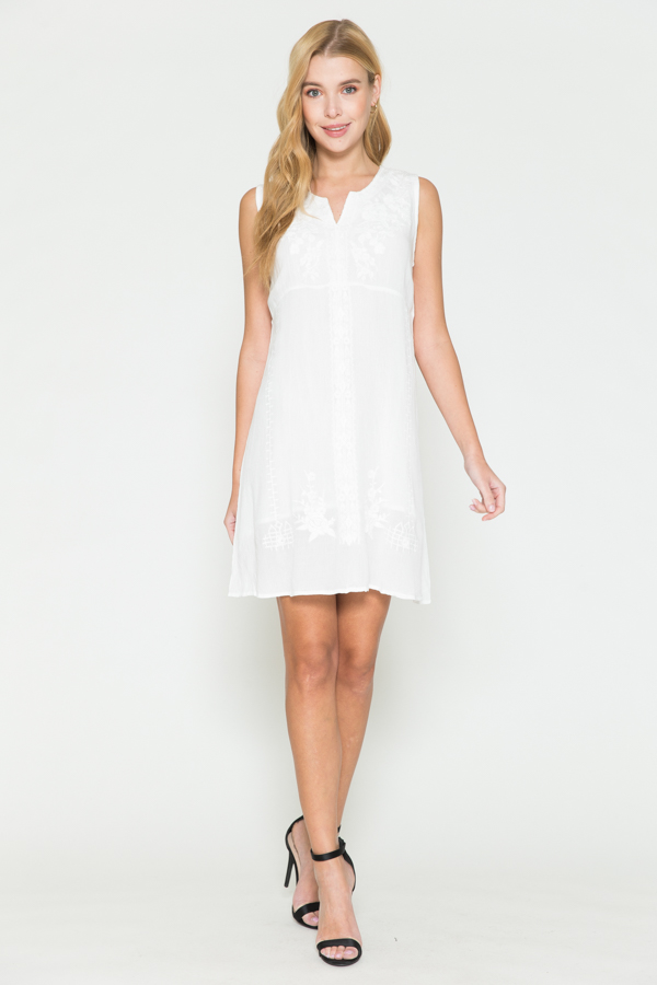 VNeck Short White Dress W/White Embroidery