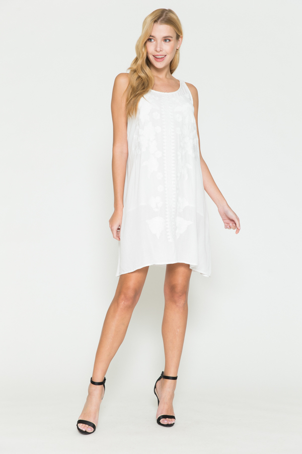 Short White Dress W/White Embroidery