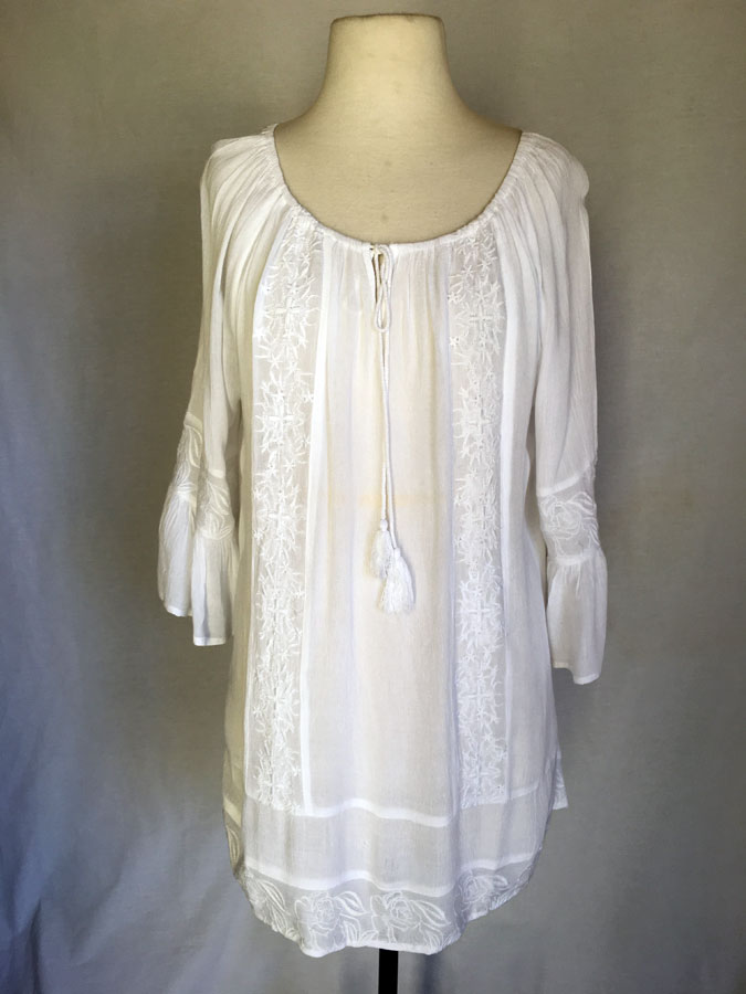 White Tunic Dress with White Emb