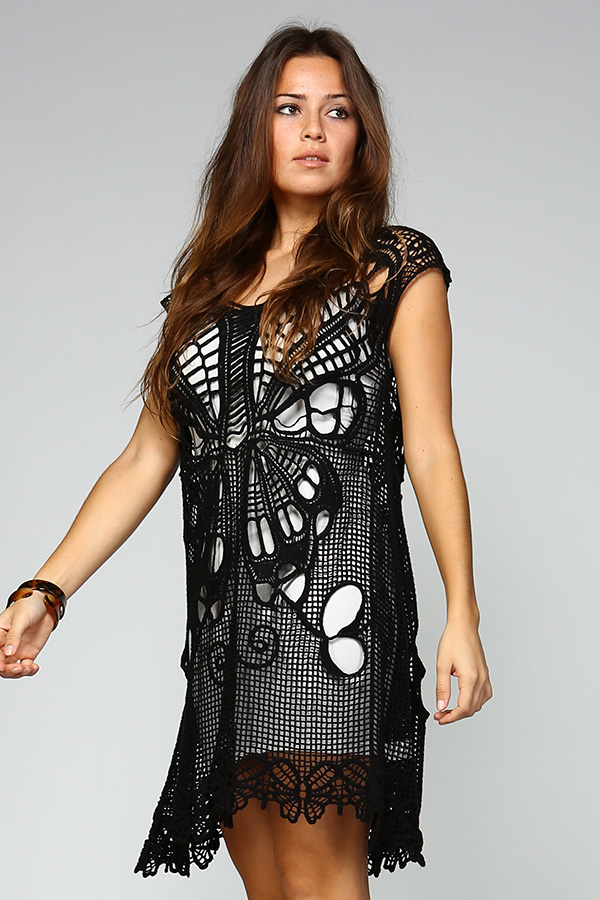 100% Cotton Short Crochet Dress - Black