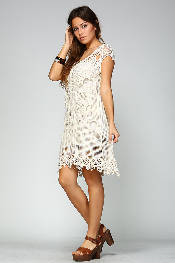 100% Cotton Short Crochet Dress - Ivory