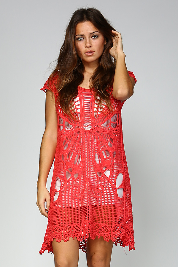 100% Cotton Short Crochet Dress - Coral