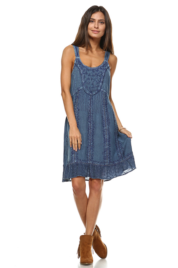 Sand Wash Tank Dress - Blue