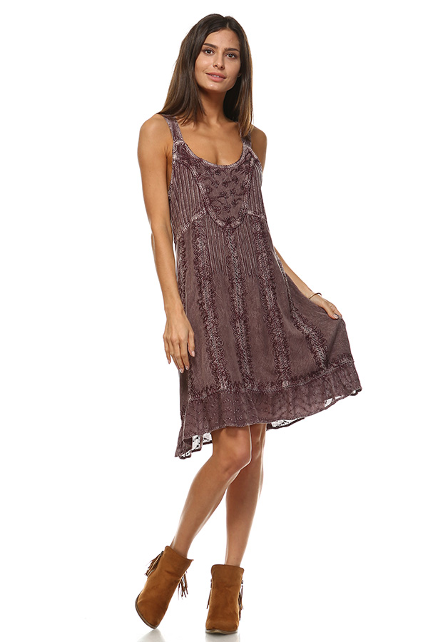 Sand Wash Tank Dress - Mauve