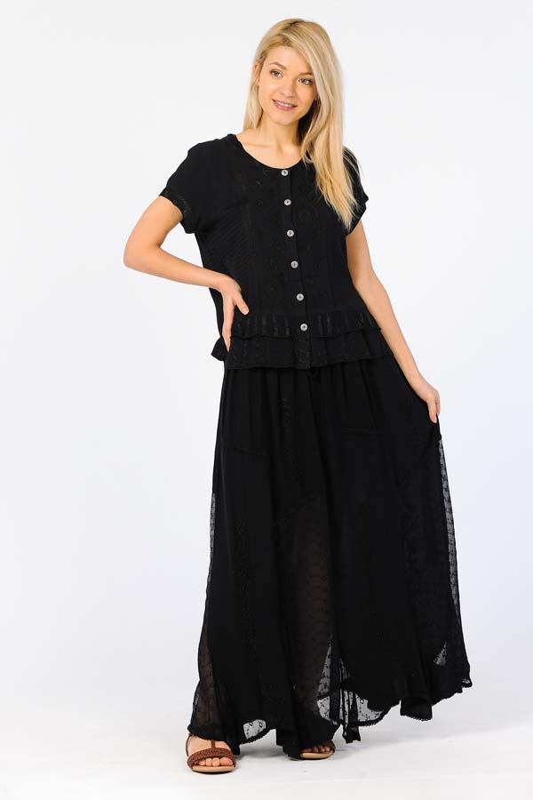 2 Pcs set of Long Sand Wash Skirt & Blouse - Black