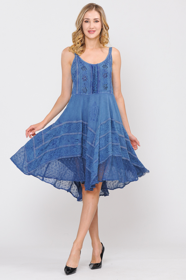 Short Sand Wash Strap Dress - Blue