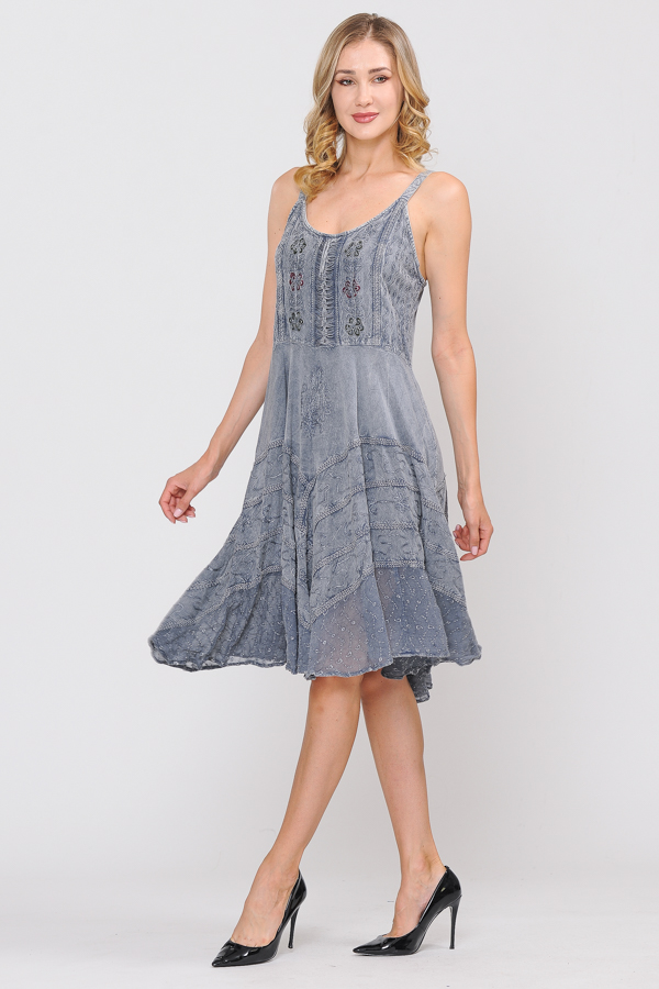Short Sandwash Strap Dress - Grey