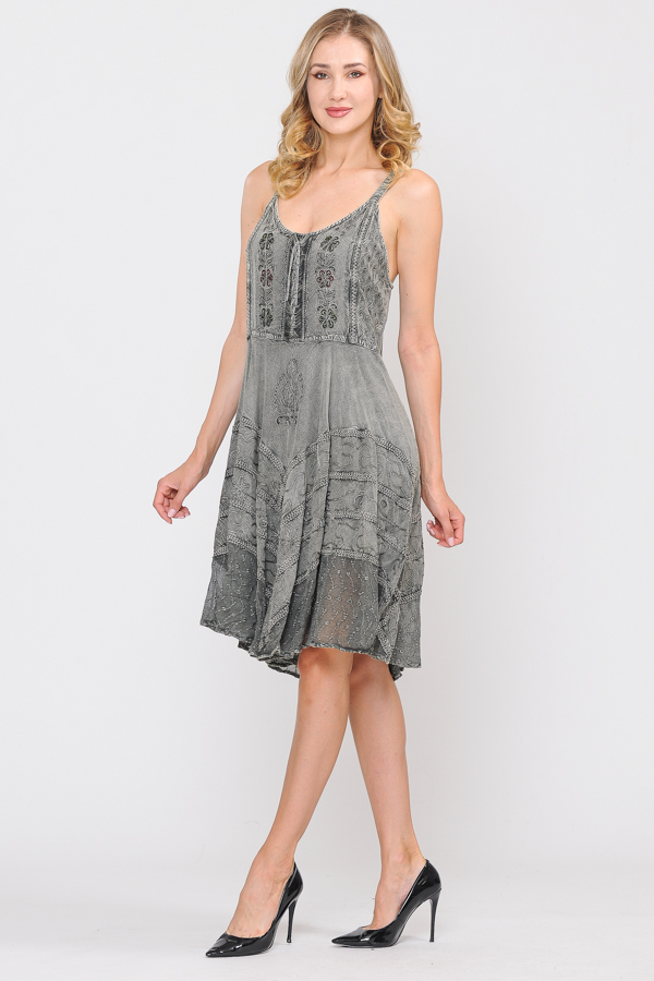 Short Sand Wash Strap Dress - Olive