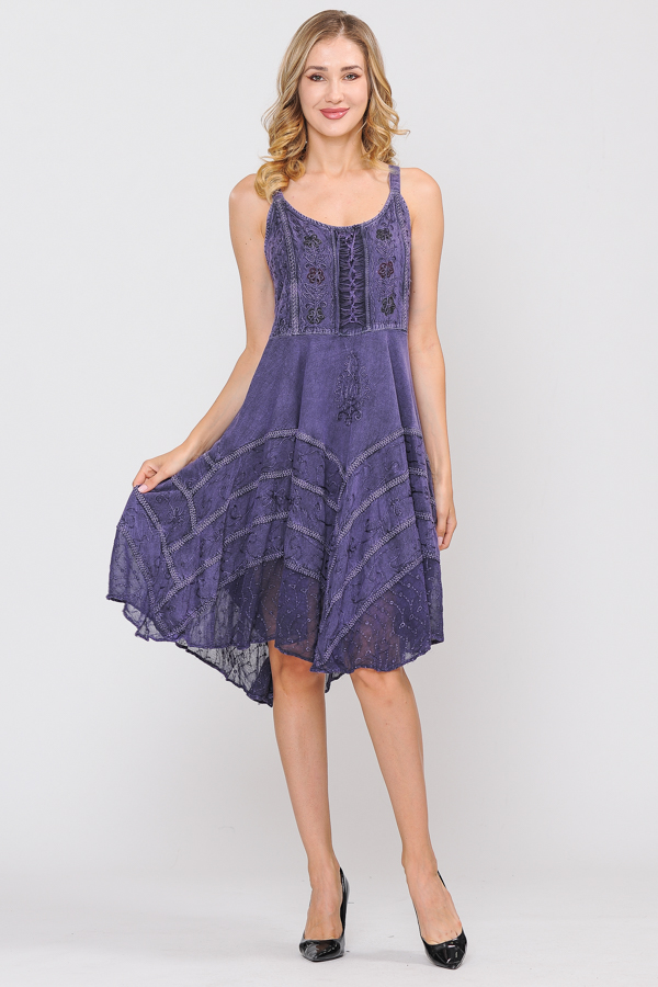 Short Sandwash Strap Dress - Purple