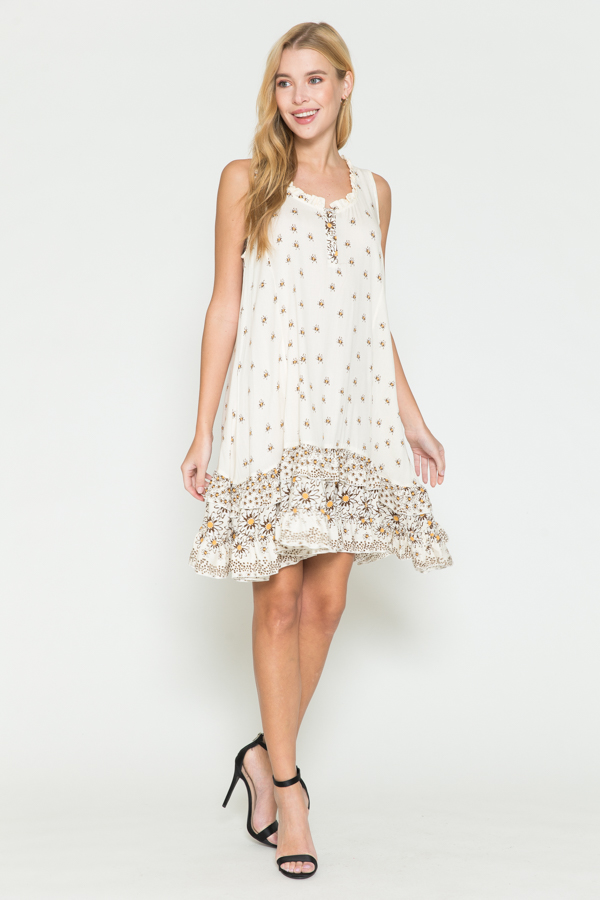 Ruffle Print Sleeveless short dress - Natural