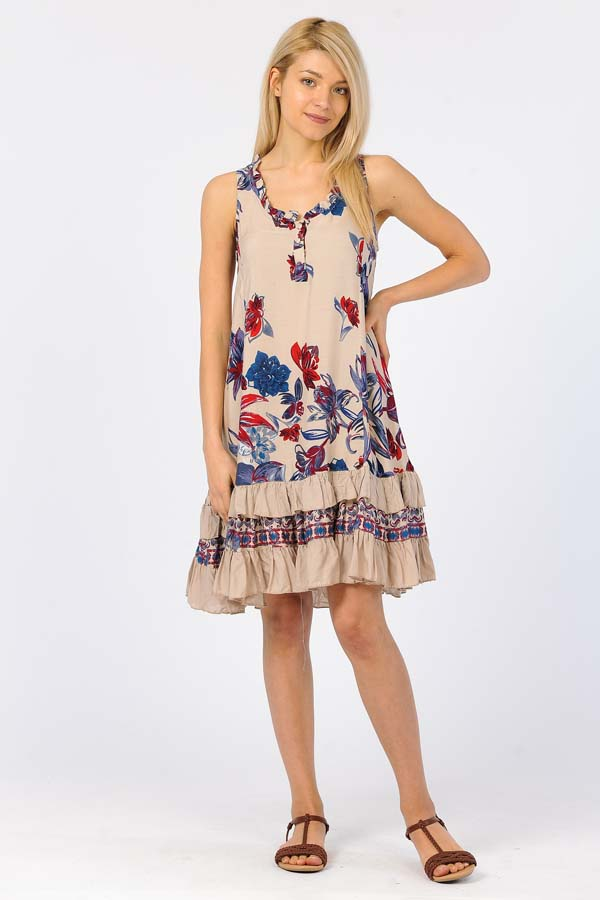 Ruffle Print Sleeveless short dress - Blush/Multi Flower