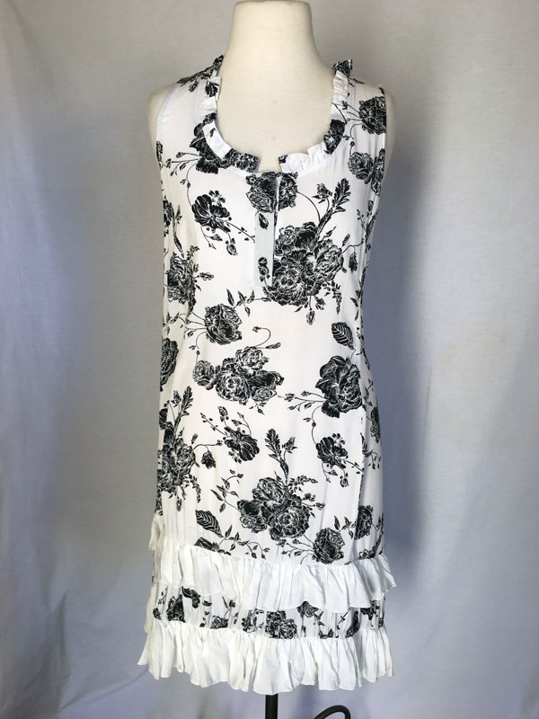 Ruffle Print Sleeveless short dress - White with Grey Flowers