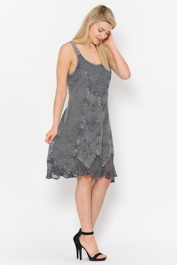 Short Sandwash Strap Dress - Charcoal
