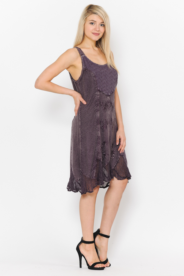Short Sandwash Strap Dress - Chacolate