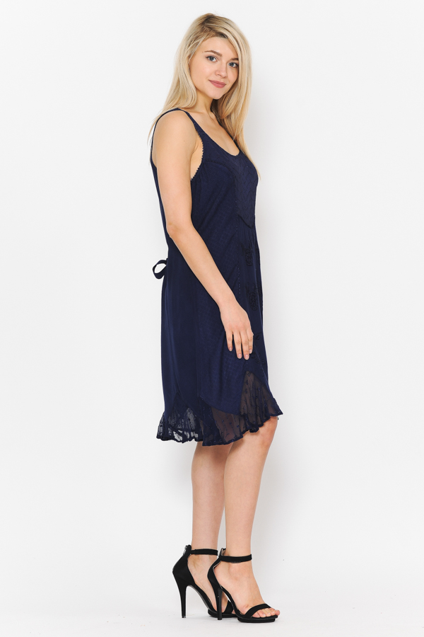 Short Sandwash Strap Dress - Navy