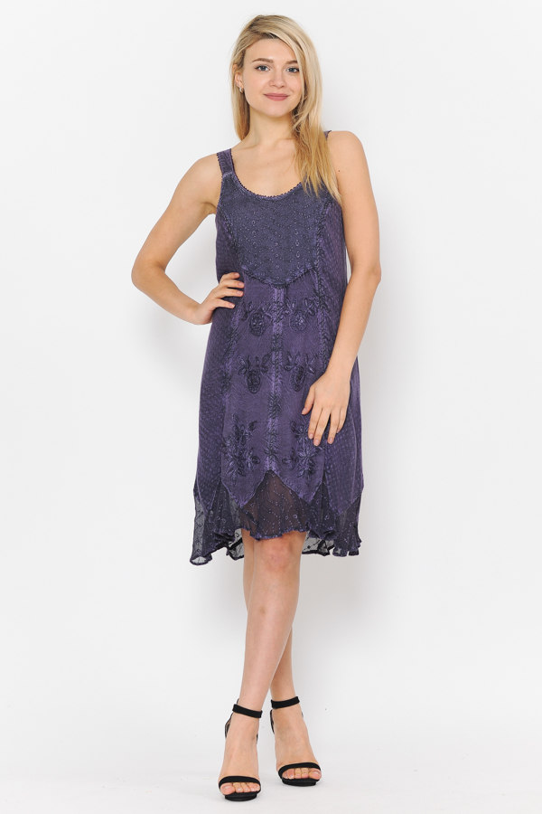 Short Sandwash Strap Dress Purple