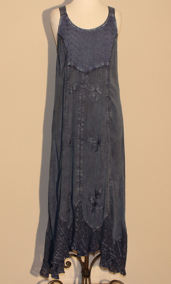 Long Sand Wash Tank Dress - Blue