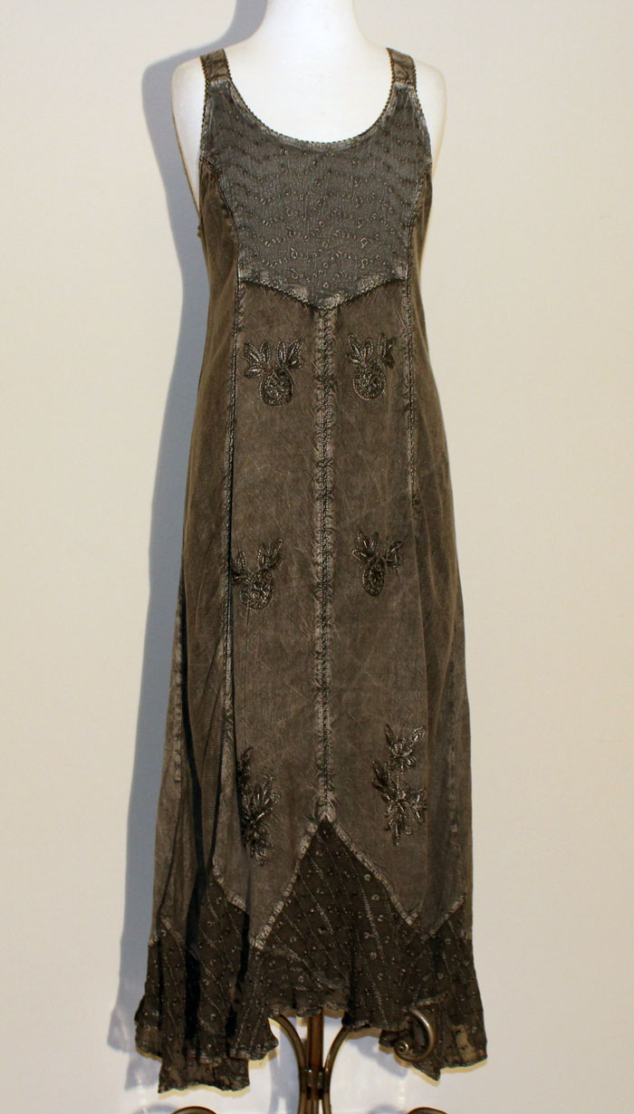 Long Sand Wash Tank Dress - Charcoal