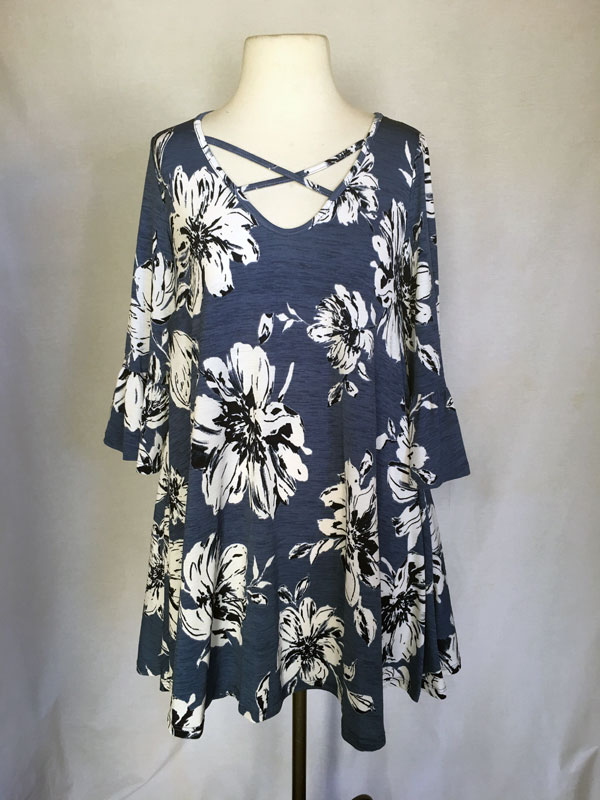 Printed Tunic short dress - Blue with White Flower