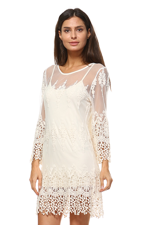 Lace Dress with Lining - Natural