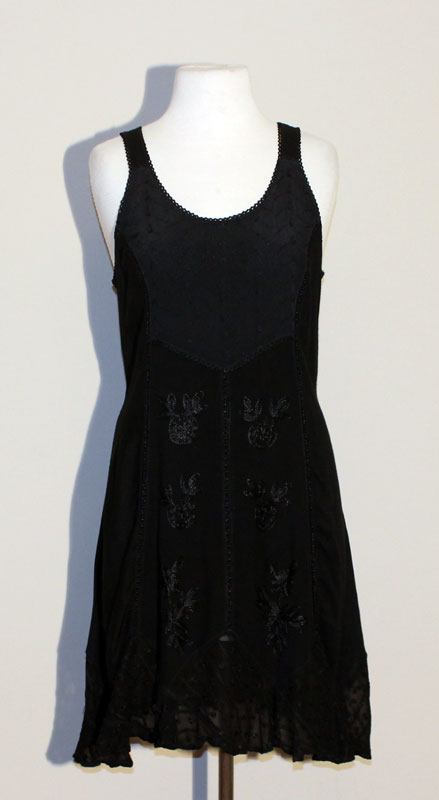 Short Sandwash Strap Dress - Black