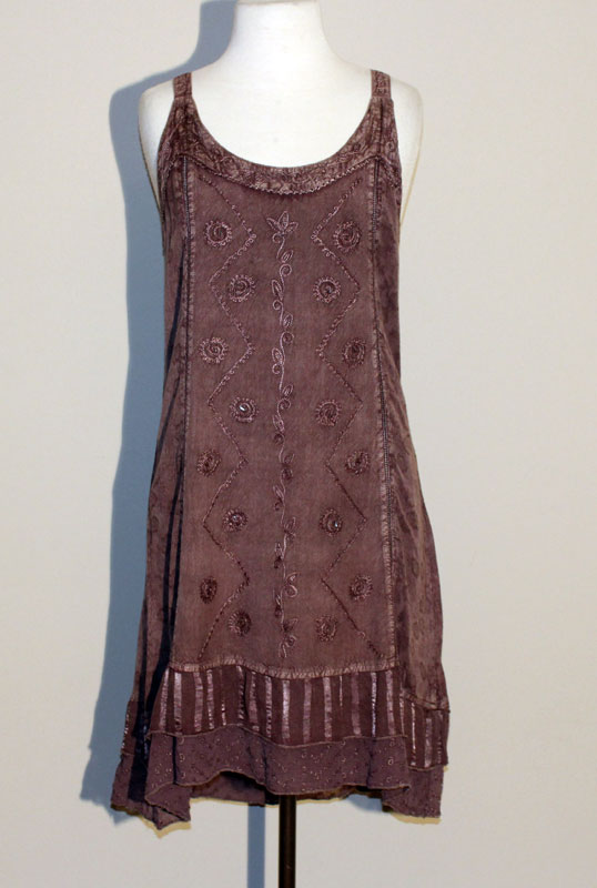 Short Sand Wash Tank Dress - Chocolate