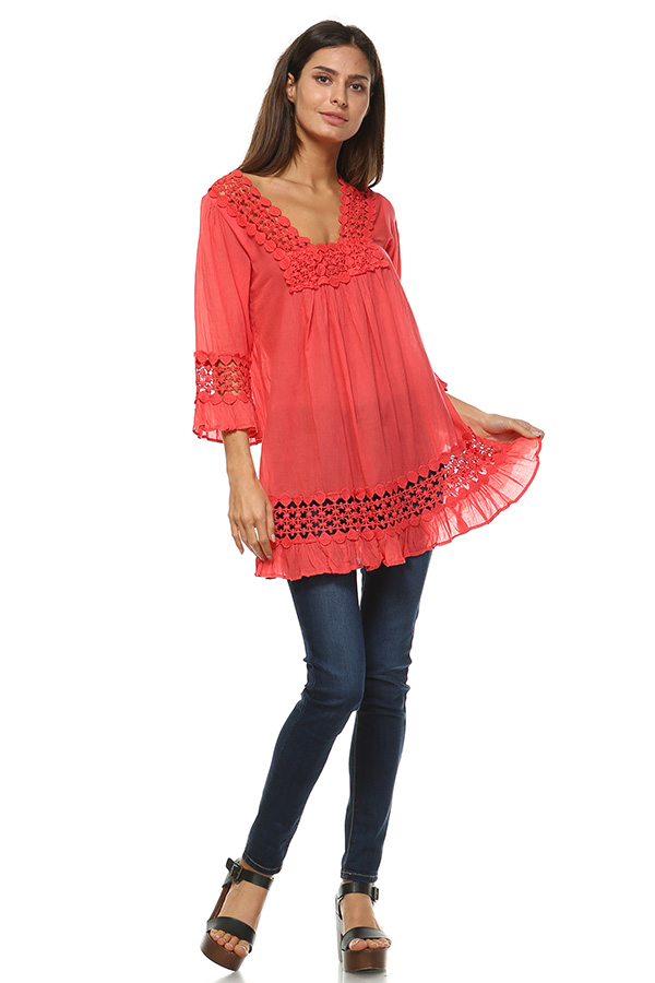 100% Cotton Lace Tunic Top - Coral