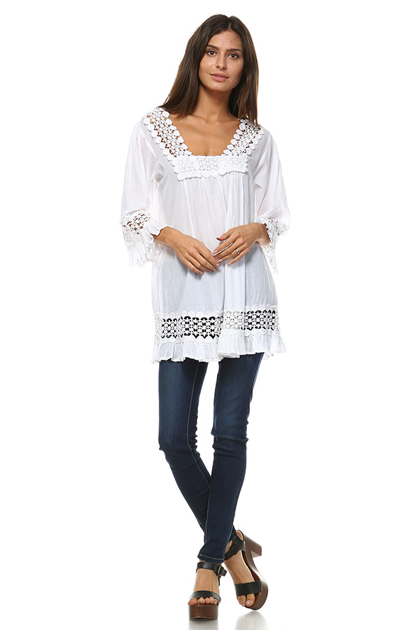 100% Cotton Lace Tunic Top - Ivory