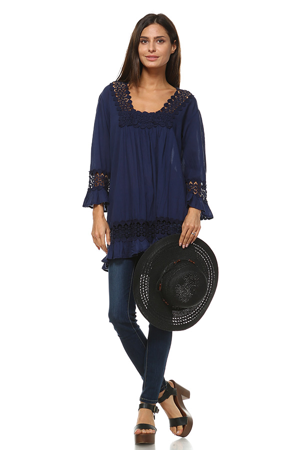 100% Cotton Lace Tunic Top - Navy