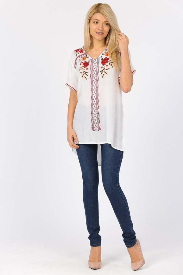 Tunic Top - White/With/Red Embroidery