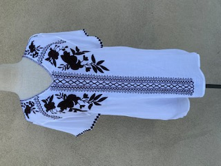 Tunic Top - White/With/Brown Embroidery