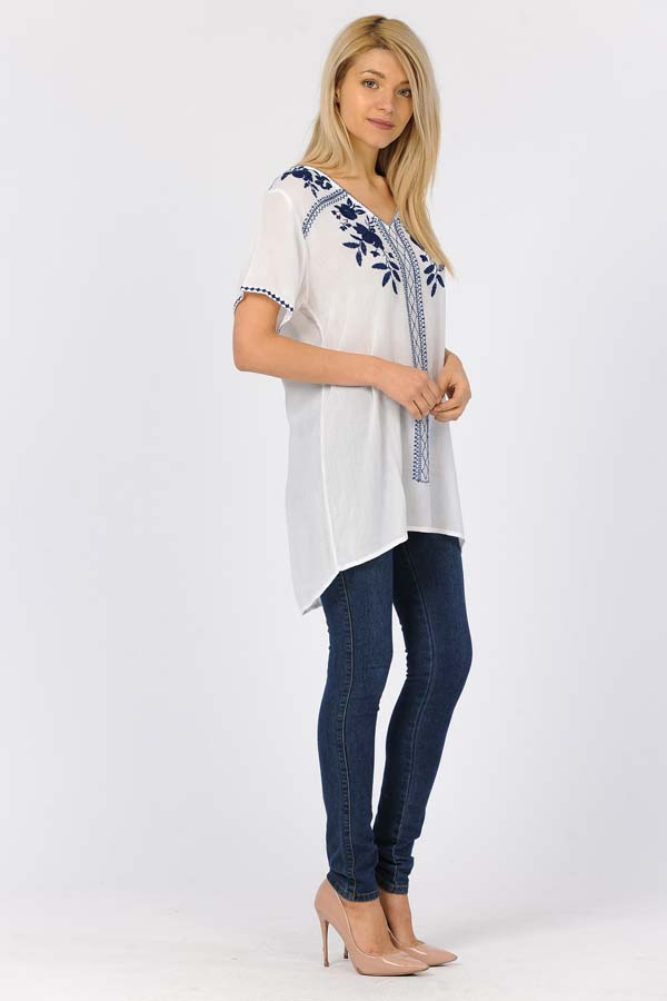 Tunic Top - White/With/Navy Embroidery