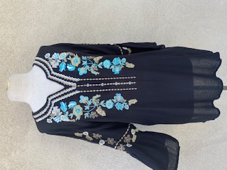 Bell Sleeves Black/multi Embroidery Tunic - Black