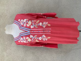 Bell Sleeves Coral/multi Embroidery Tunic - Coral