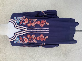 Bell Sleeves Navy With multi Embroidery Tunic - Navy