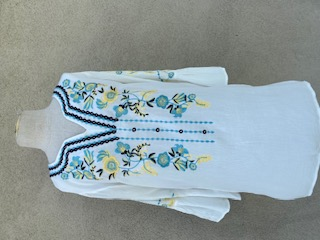 Bell Sleeves White with Multi Embroidery Tunic - White