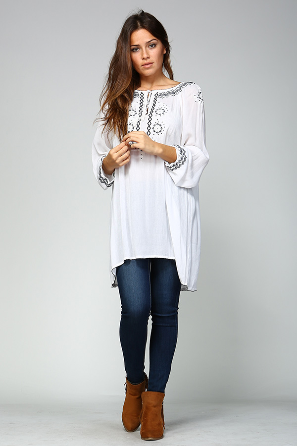 Long Sleeve White Tunic Top with Black Embroidery