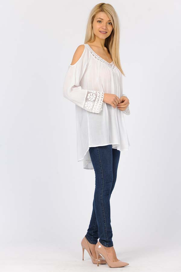 Crochet Cold ShoulderTunic Top - White