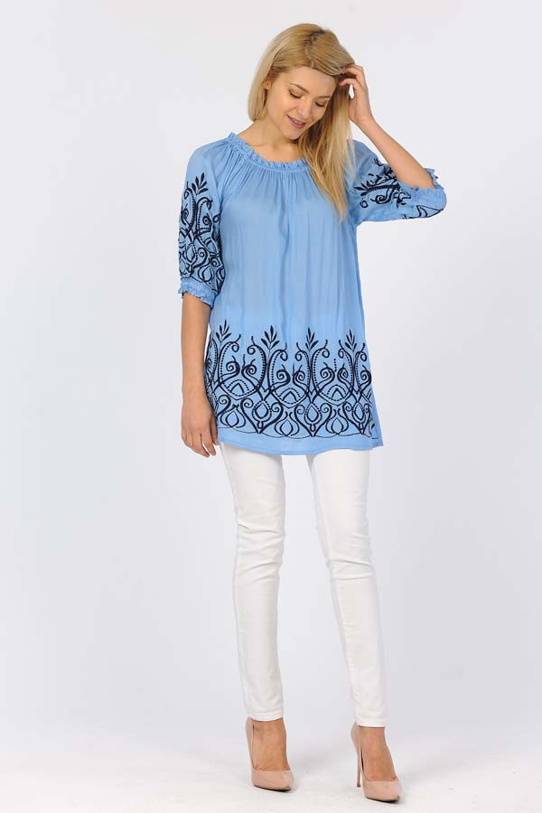 Tunic Top Navy Emboridery - Blue