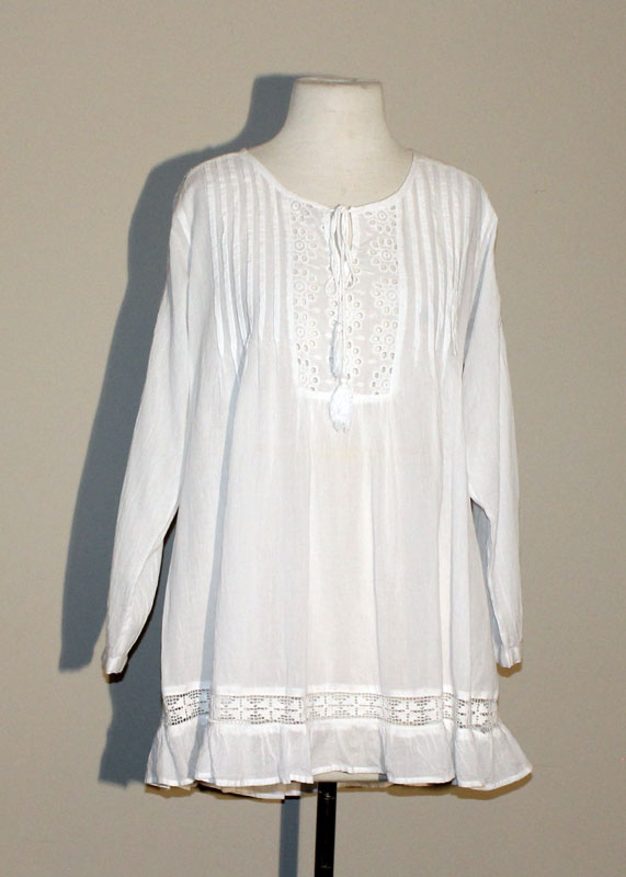 100% Cotton Tunic Top - White