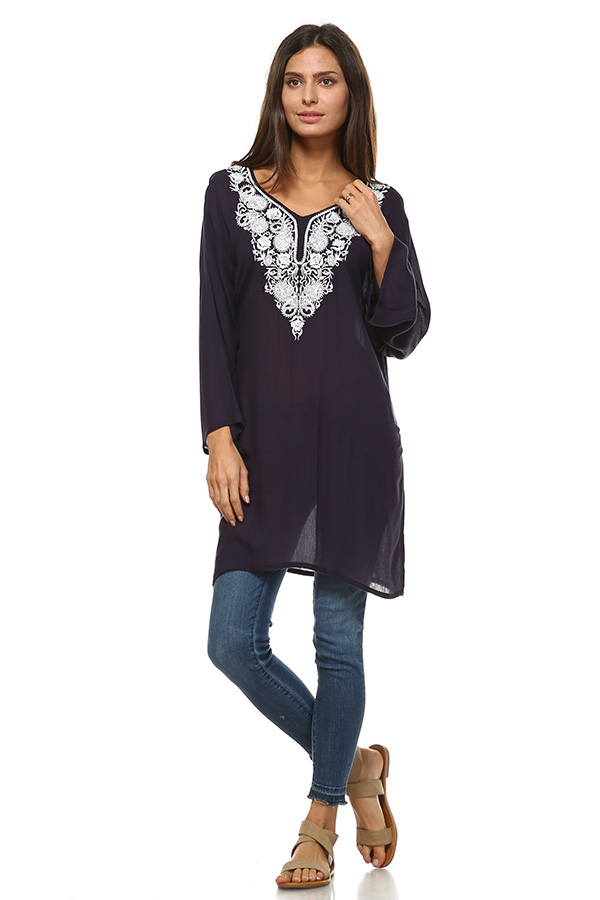 Long Sleeve Navy Tunic Top with Blue Embroidery